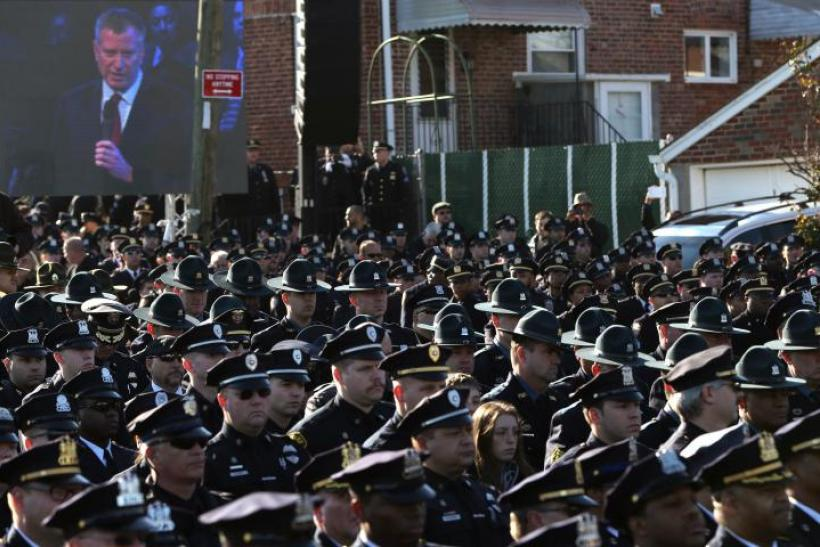 Mayor Bill de Blasio Speaks During Funeral of NYPD Officer