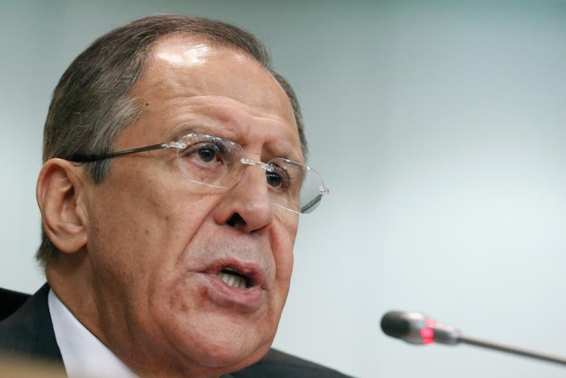 Russia Foreign Minister Sergei Lavrov speaks during a press conference.