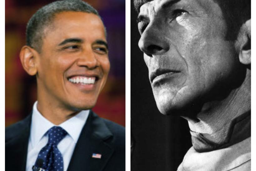President Barack Obama and Leonard Nimoy as Mr. Spock