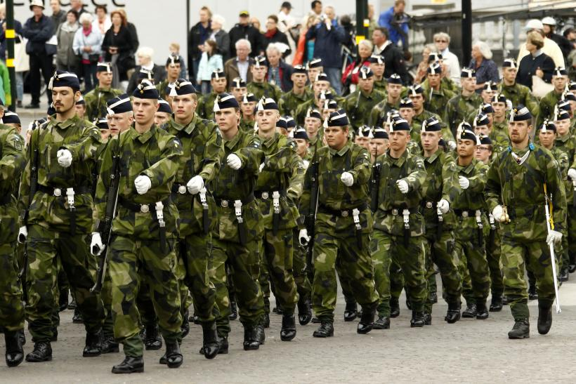 Swedish soldiers on parade