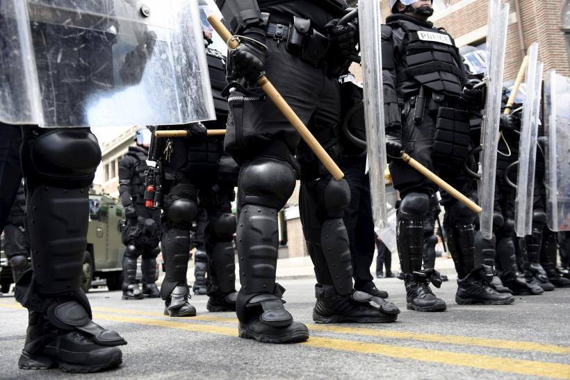 Baltimore police in riot gear