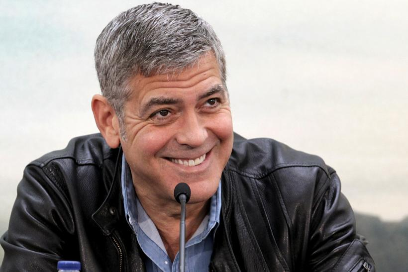 "[8:28] Cast member George Clooney talks to the media during a news conference at the City of Arts and Sciences ahead of the premiere of the movie ""Tomorrowland"" in Valencia"