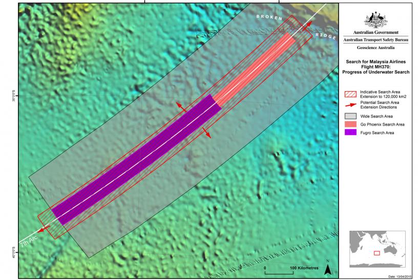 MH370 extended search area