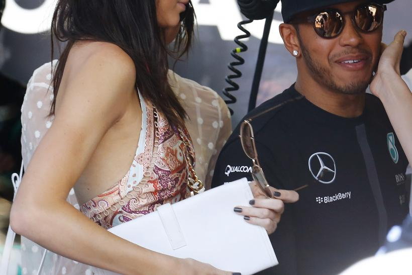 [8:36] Mercedes Formula One driver Lewis Hamilton of Britain (R) and model Kendall Jenner of Britain arrive in the paddock before the Monaco F1 Grand Prix