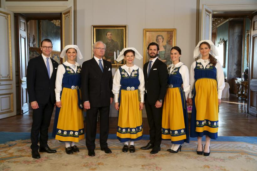 [8:01] (L-R) Prince Daniel, Crown Princess Victoria, King Carl Gustaf, Queen Silvia, Prince Carl Philip, his fiancee Sofia Hellqvist and Princess Madeleine pose for a photograph during a reception at the Royal Palace