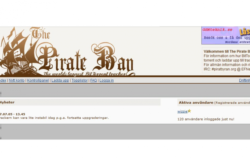 The Pirate Bay's homepage in 2004
