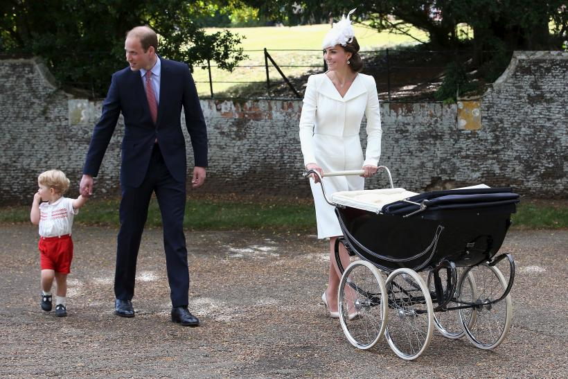 [12:56] Britain's Prince William, his wife Catherine, Duchess of Cambridge leave with their son Prince George and daughter Princess Charlotte leave after Princess Charlotte's christening at the Church of St Mary Magdalene on Sandringham Estate