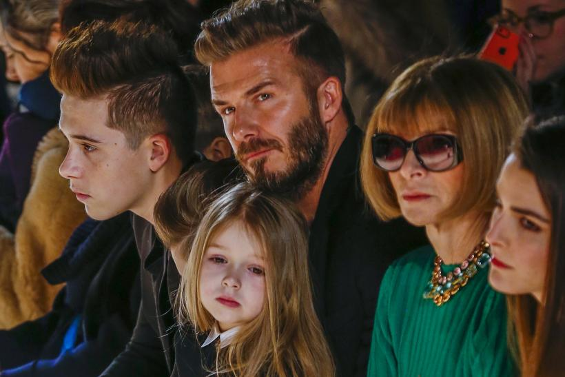 David Beckham, Anna Wintour. Harper, Brooklyn Beckham