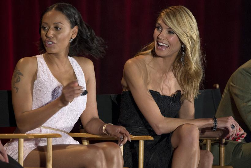 "Judges Heidi Klum (R) and Melanie Brown attend a panel for the television series ""America's Got Talent."""