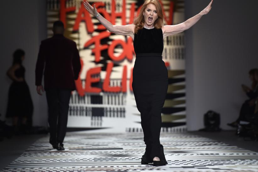 [10:30] Sarah, Duchess of York, presents a creation at the Fashion for Relief charity catwalk show