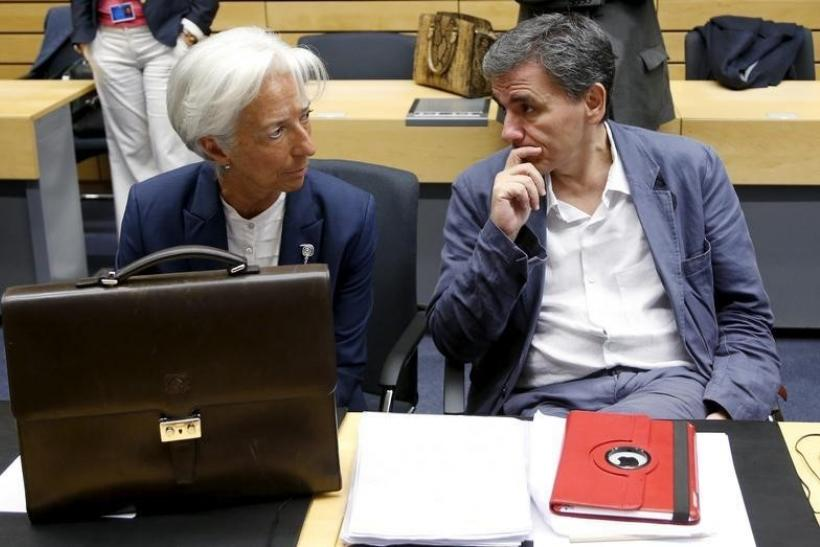IMF's Christine Lagarde, Greece's Euclid Tsakalotos, July 12, 2015