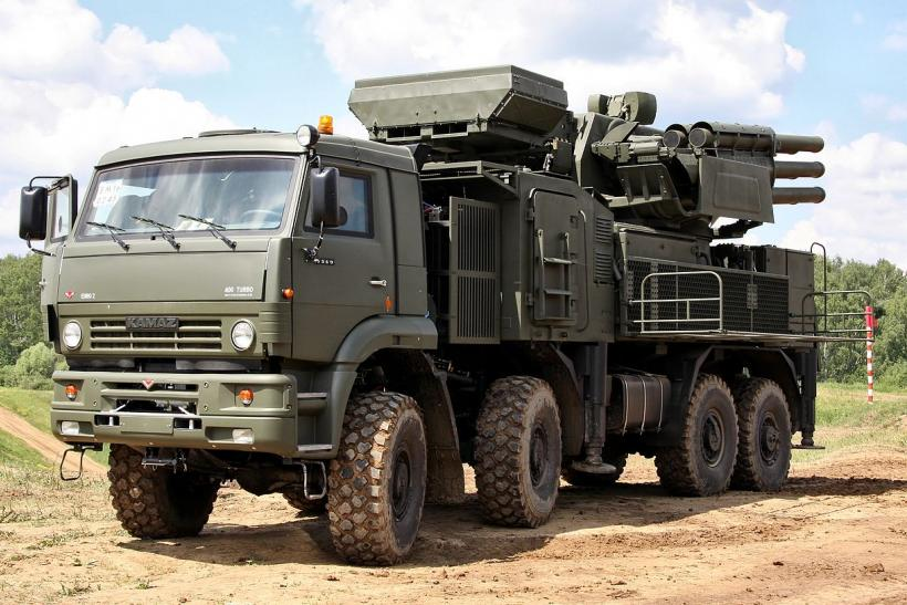 Pantsir-S1 Missile defense system at a range in Russia.