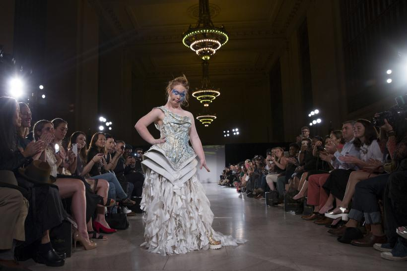 [11:58] Madeline Stuart, an Australian model with Down Syndrome, presents a creation from the Hendrik Vermeulen label during the FTL Moda presentation of the Spring/Summer 2016 collection