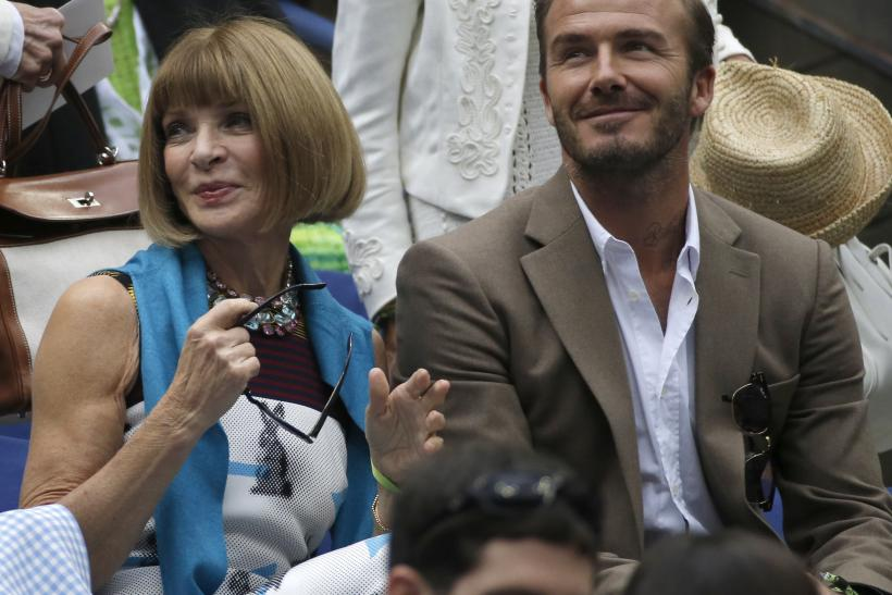 [10:06] English soccer star David Beckham sits next to Anna Wintour, editor-in-chief of American Vogue