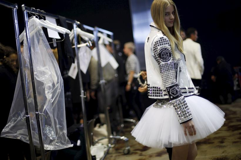 [13:27] A model backstage is pictured before the Philipp Plein Spring/Summer 2016 collection