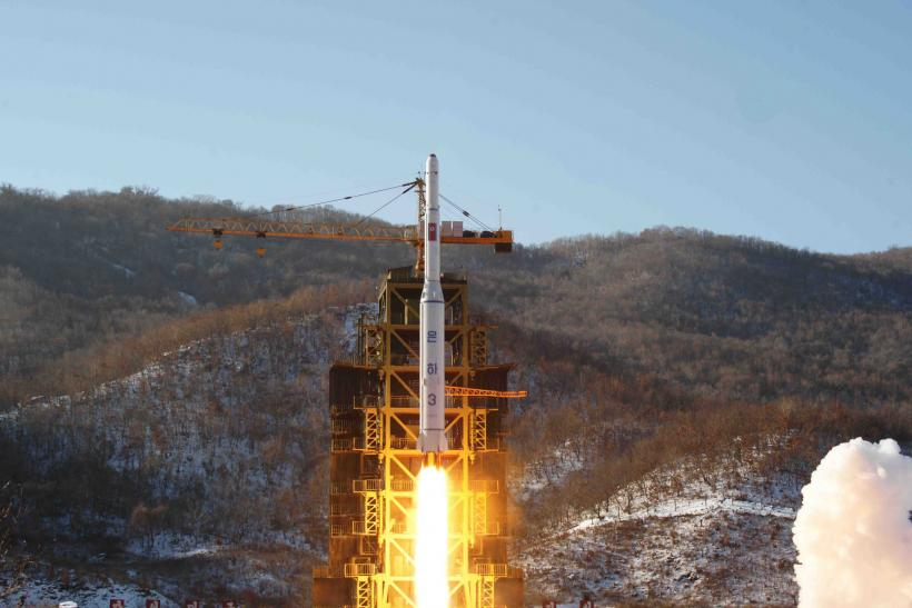 A North Korean rocket launches