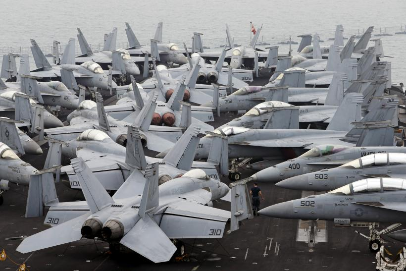 U.S. jets on the flight deck of the USS Theodore Roosevelt
