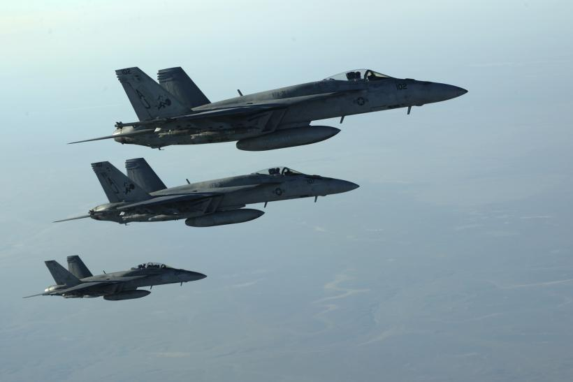 Boeing F-18's in formation over northern Iraq.