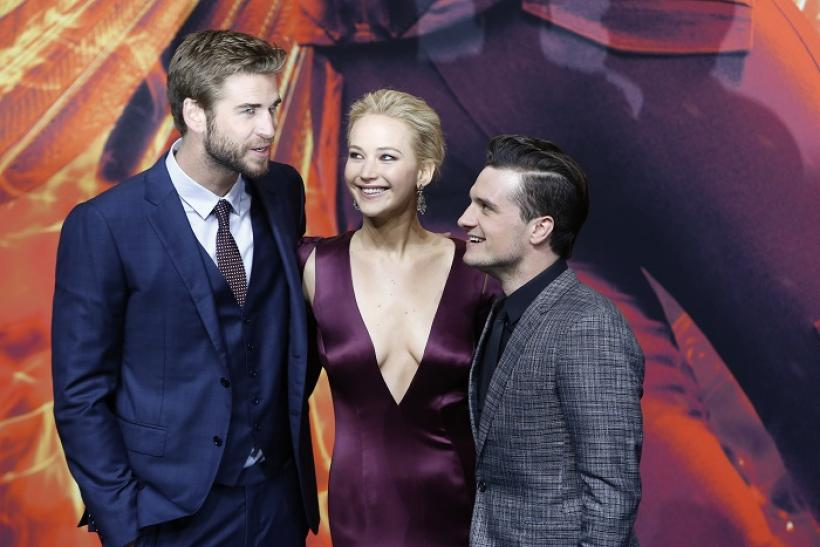 Liam Hemsworth (L), Jennifer Lawrence and Josh Hutcherson