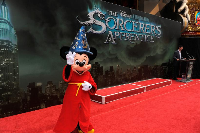 Mickey Mouse as the Sorcerer's Apprentice at a premiere