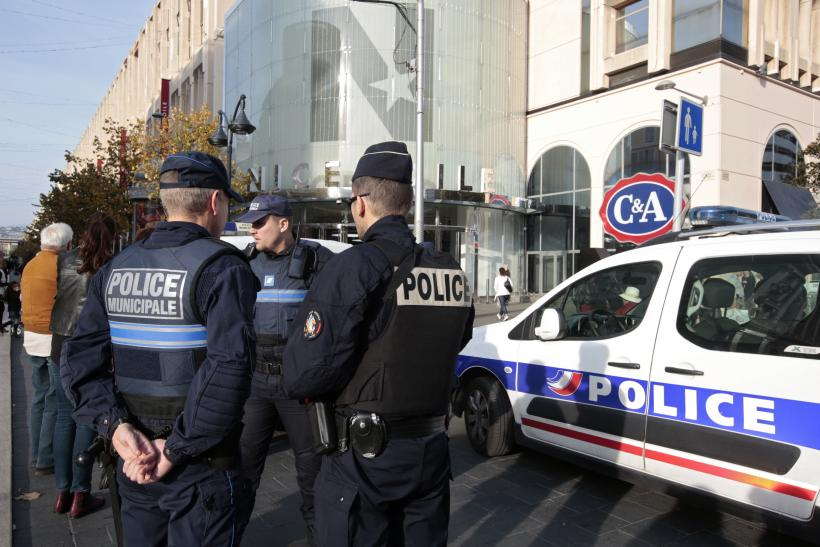 French police guard a location in central Paris.