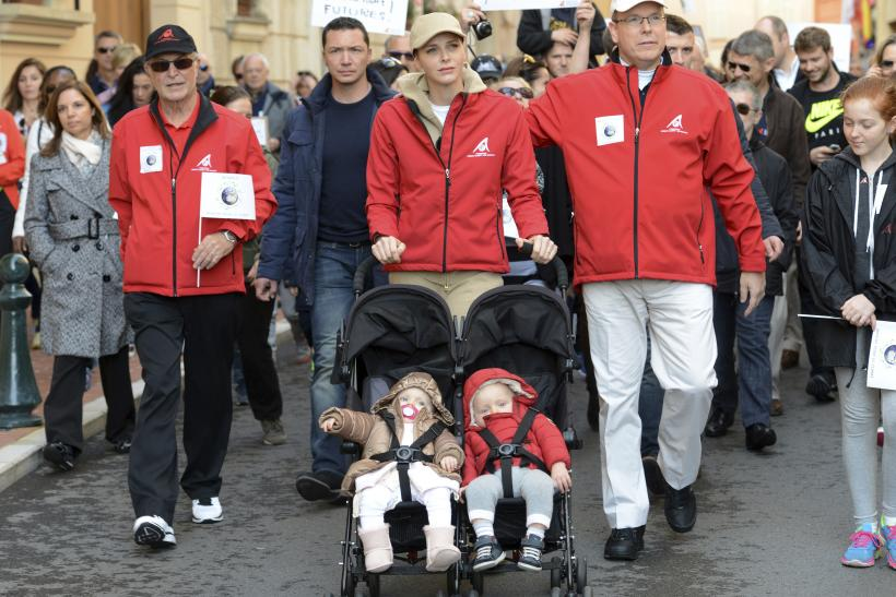 Prince Albert II of Monaco and his wife Princess Charlene of Monaco with their twins Prince Jacques and Princess Gabriella