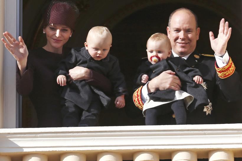 Prince Albert II of Monaco and his wife Princess Charlene hold their twins Prince Jacques and Princess Gabriella