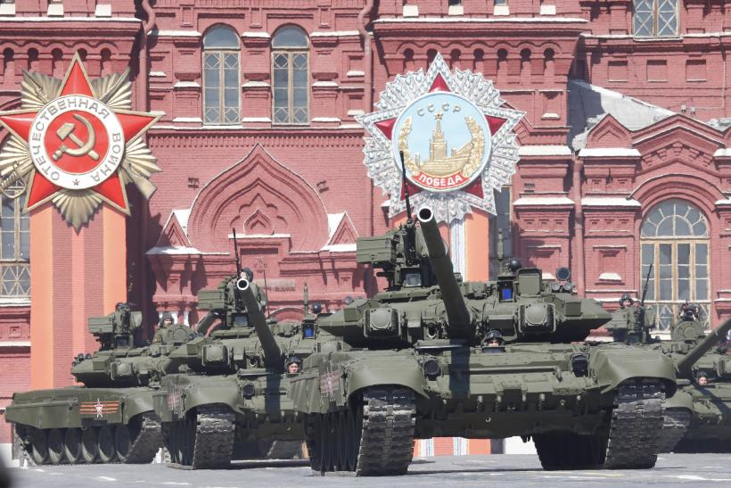 The T-90 tank during rehearsals in Moscow.