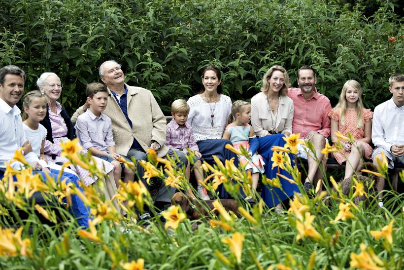 The Danish royal family are seen at a garden in Graasten Castle