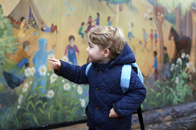 Prince George outside the Westacre Montessori School nursery