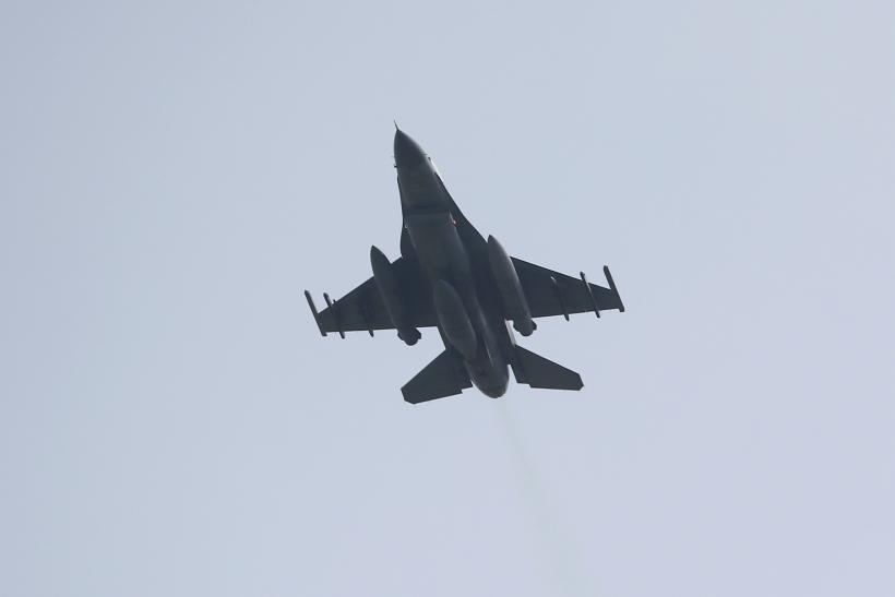 A Turkish jet flies from a military base in Turkey.