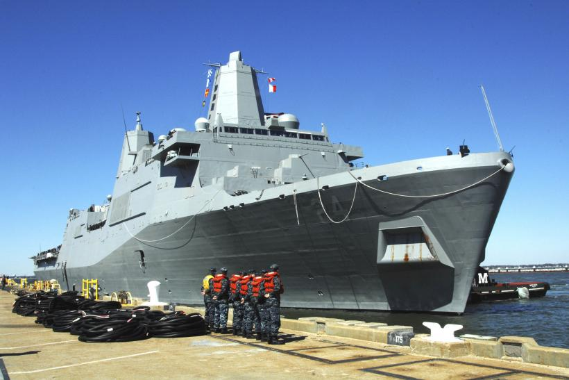 A U.S. Navy ship berthed at Norfolk shipyard.