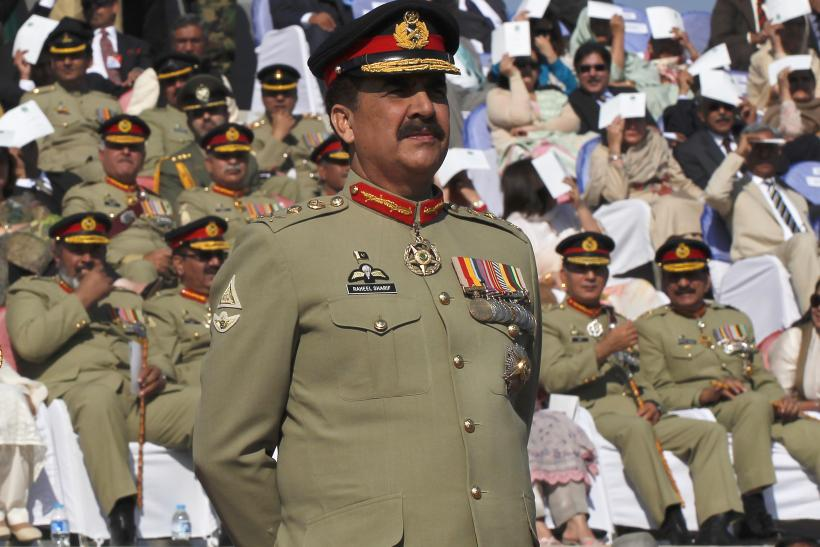 Pakistan Army Gen. Raheel Sharif standing to attention.