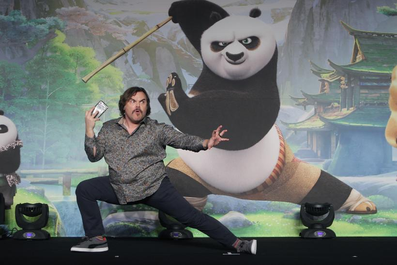 "low priced d6793 6cd9c Jack Black is the lead voice in what could be the most important movie of  the year. Pictured  Black attends the press conference for ""Kung Fu Panda  3"" on ..."