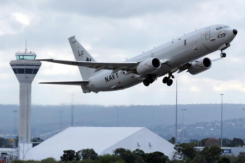 An U.S. Navy Poseidon P-8 aircraft takes off from Perth airport in Western Australia.