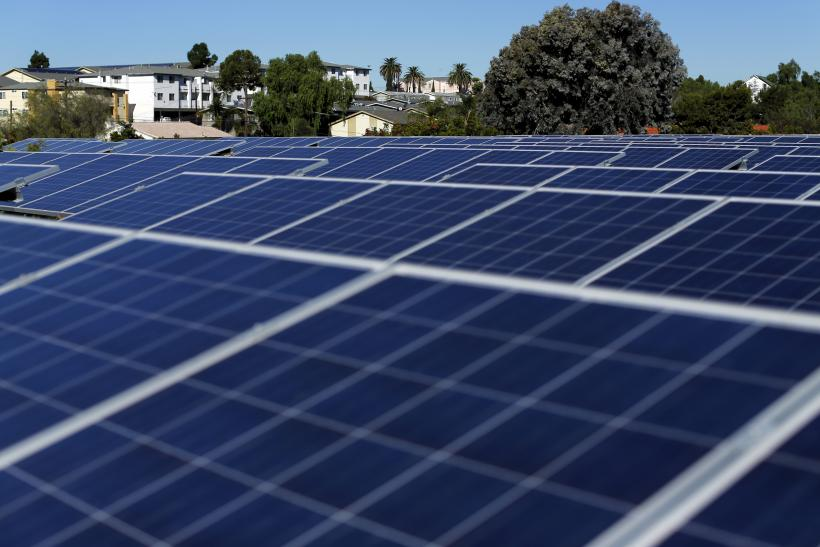 Solar panels at a California housing complex