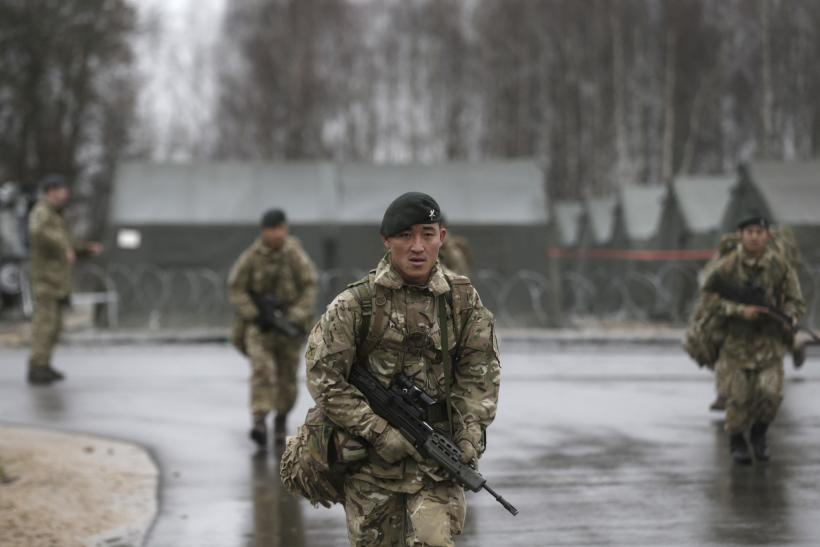British Army troops take part in a drill in Latvia.