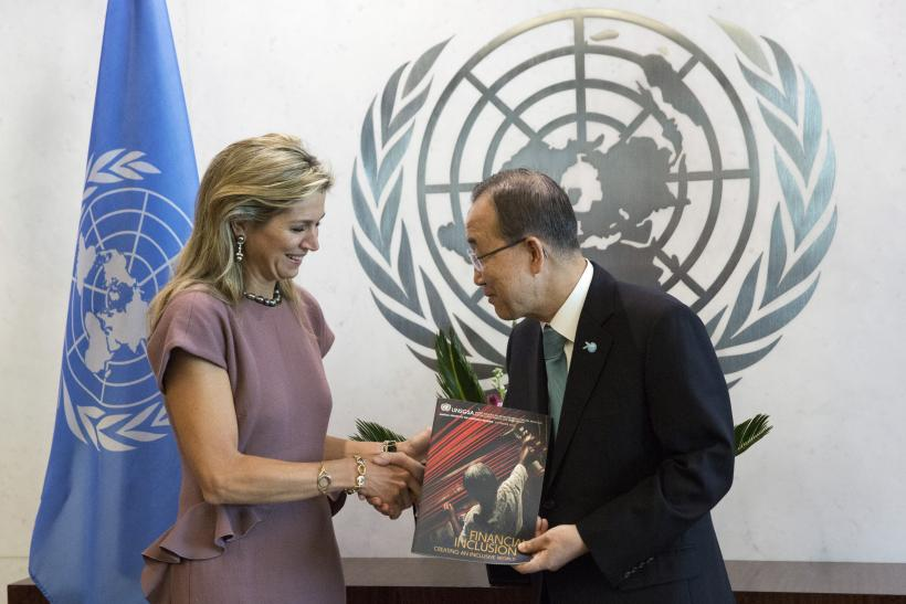 Queen Maxima of the Netherlands meets with U.N. Secretary-General Ban Ki-moon