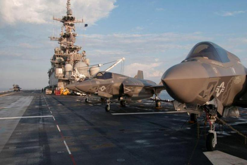 F-35s on the deck of the USS Wasp.