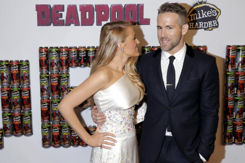 Actor Ryan Reynolds poses with his wife actress Blake Lively