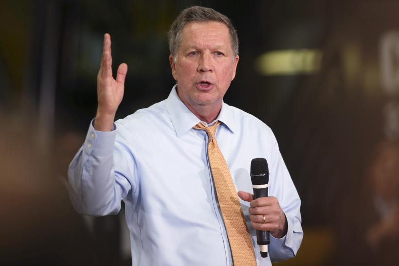 Ohio Governor John Kasich speaking during a rally in his home state.