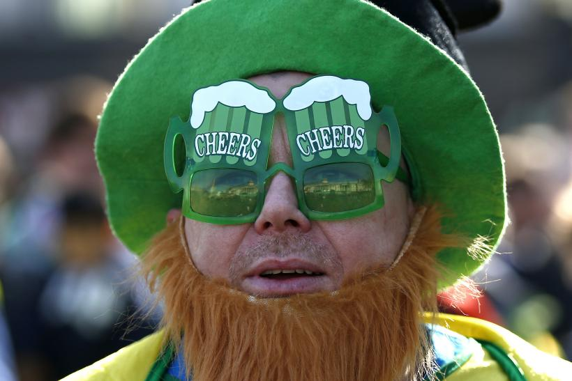 A St. Patrick's Day parade reveler in London, England.