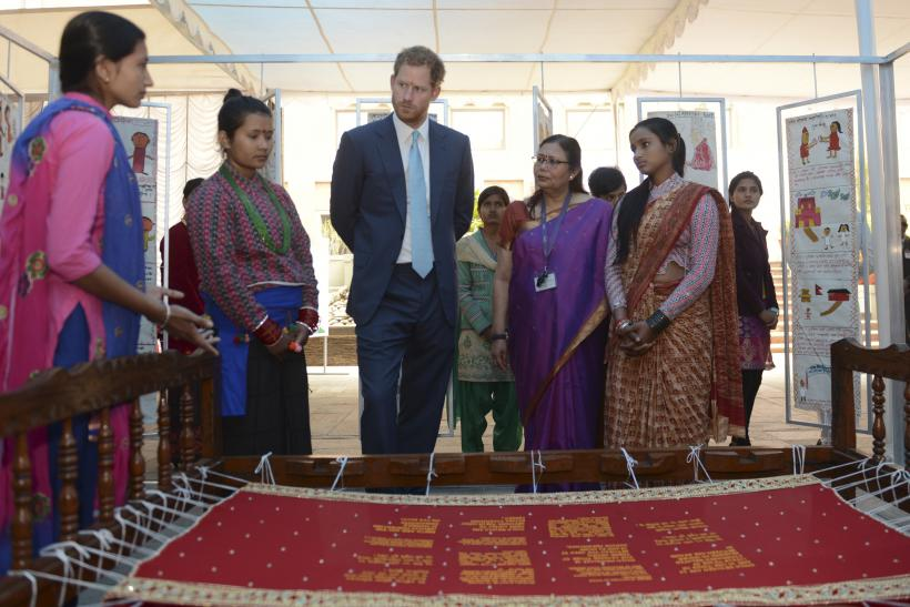 Prince Harry talks with Nepalese girls during Nepal Girl Summit 2016