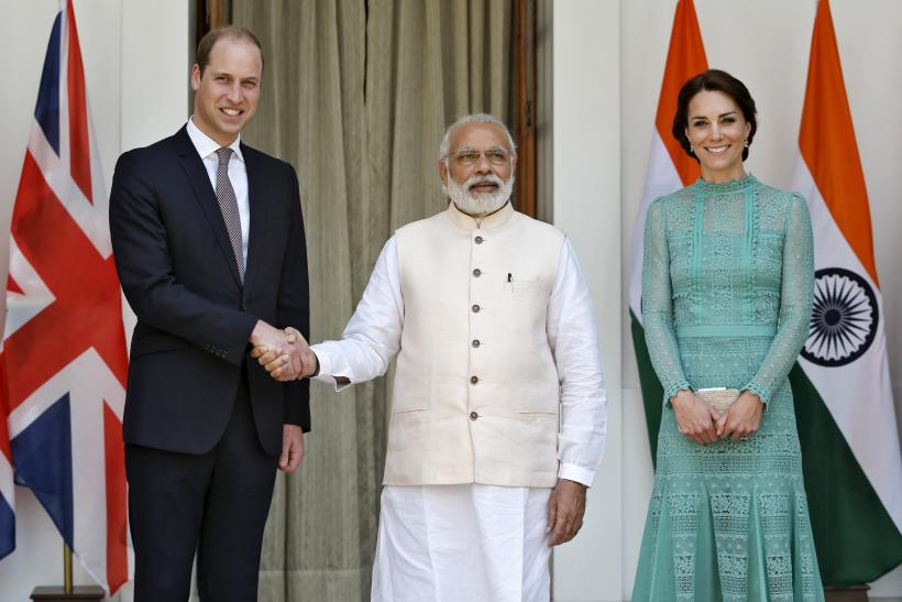 Britain's Prince William and Catherine, Duchess of Cambridge with India's Prime Minister Narendra Modi (C) as