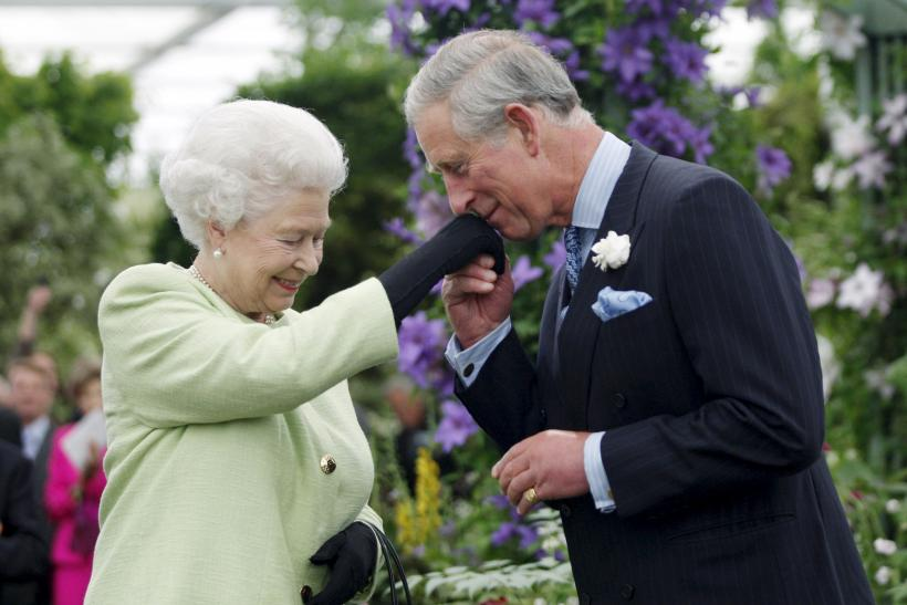 Britain's Prince Charles kisses the hand of his mother, Queen Elizabeth