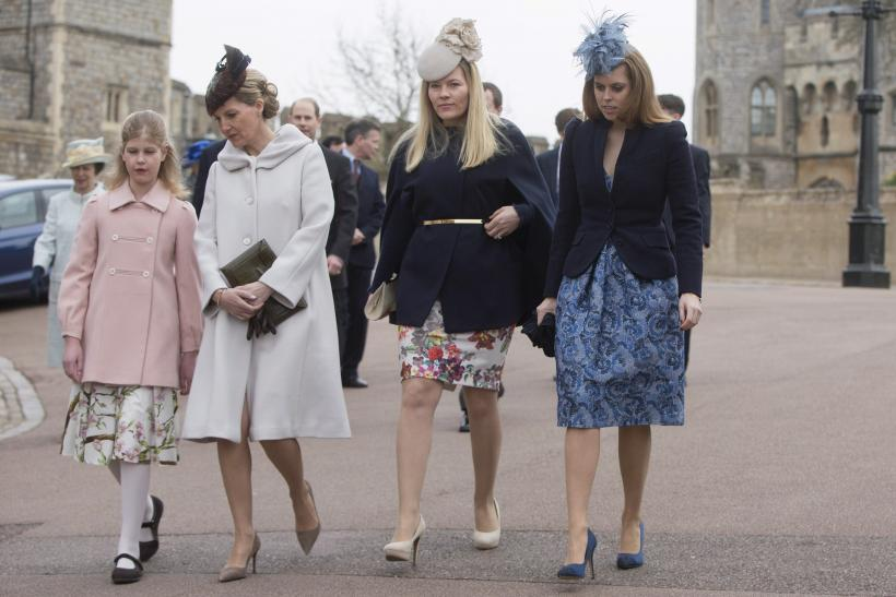 Britain's Lady Louise Windsor and Countess of Wessex with Autumn Phillips and Princess Beatrice