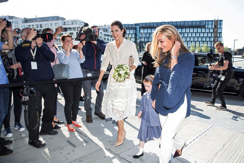 Crown Princess Mary arrives at Copenhagen Fashion Summit