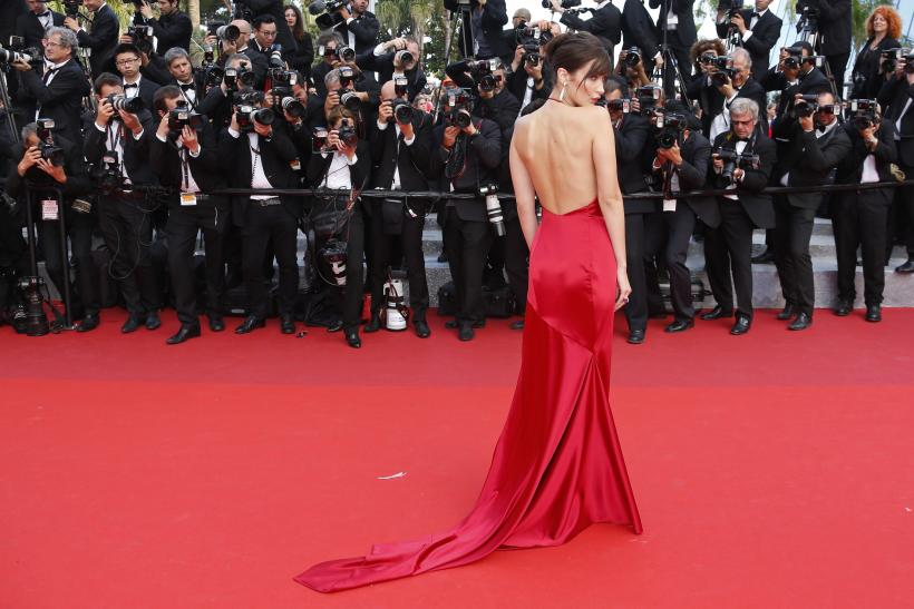 Model Bella Hadid on the Cannes red carpet