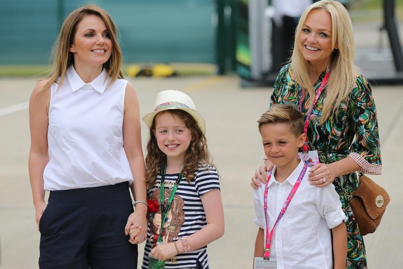 Geri Halliwell and daughter Bluebell and Emma Bunton with son Beau Lee Jones