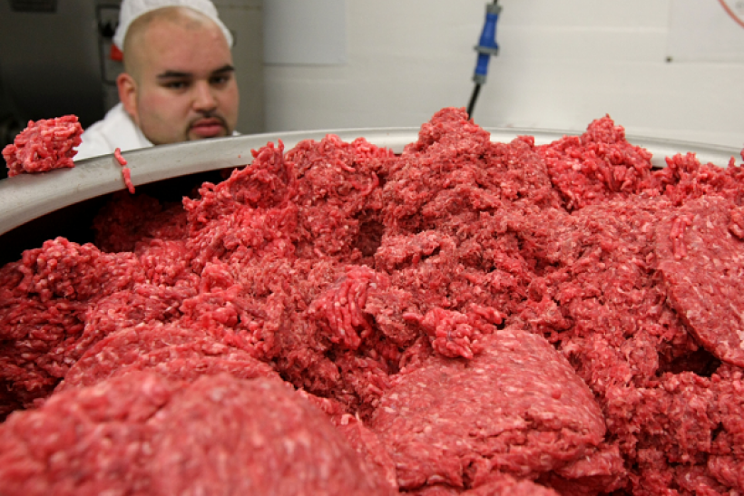 SAN FRANCISCO - JUNE 24: Carlos Vasquez monitors ground beef as it passes through a machine that makes hamburger patties at a meat packing and distribution facility June 24, 2008 in San Francisco, California.